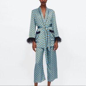 Zara Blue Blazer w Feather Appliqués